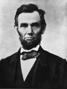 Abraham Lincoln head on shoulders photo portrait-228x300