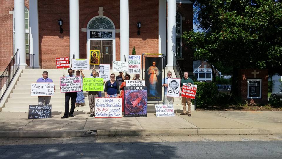 KAINE CHURCH PROTEST FRONT STEPS